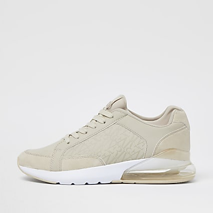 Stone bubble monogram lace up runner trainers