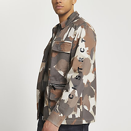 Stone camo field jacket with sleeve print