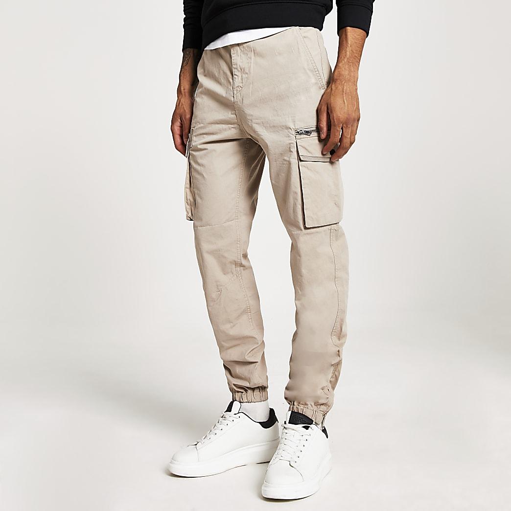 Pantalon cargo grège