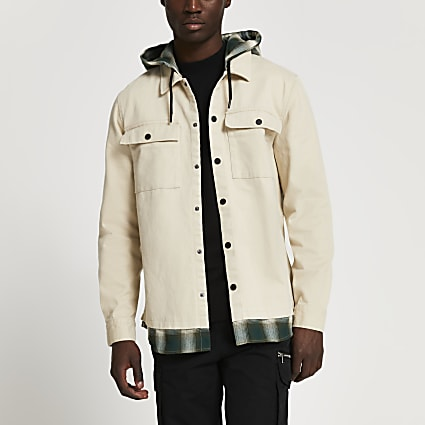Stone check hooded shacket
