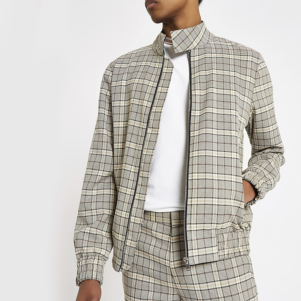 Stone check long sleeve Harrington jacket
