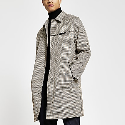 Stone check print mac coat