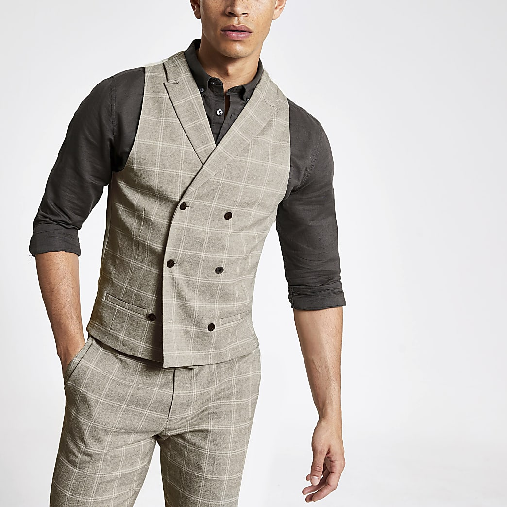 Stone check print slim fit waistcoat
