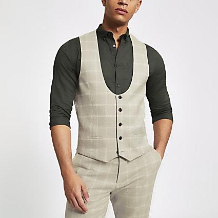 Stone check scoop neck waistcoat