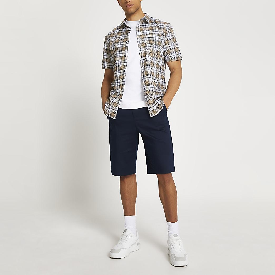 Stone check slim fit shirt