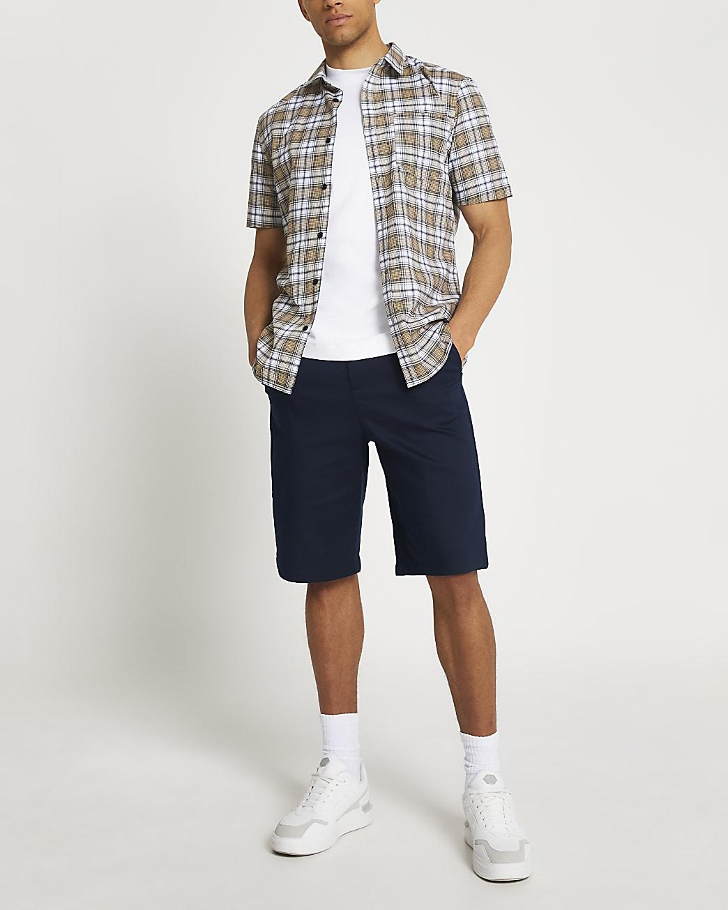 Stone check slim fit short sleeve shirt
