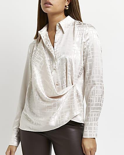 Stone check wrap drape long sleeve shirt