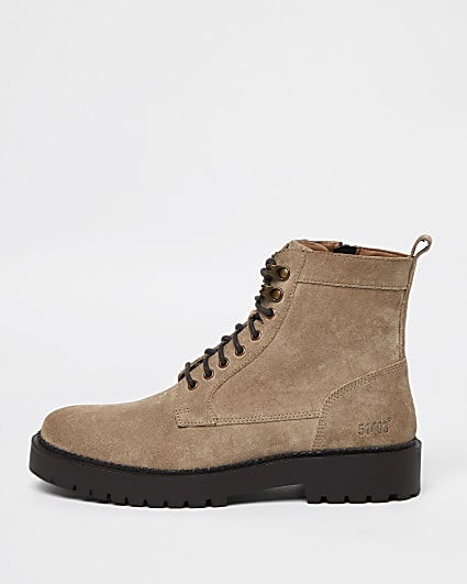 Stone chunky suede lace up military boots