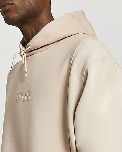 Stone colour block hoodie