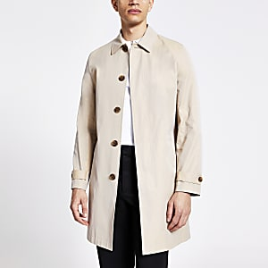Stone concealed button water resistant mac