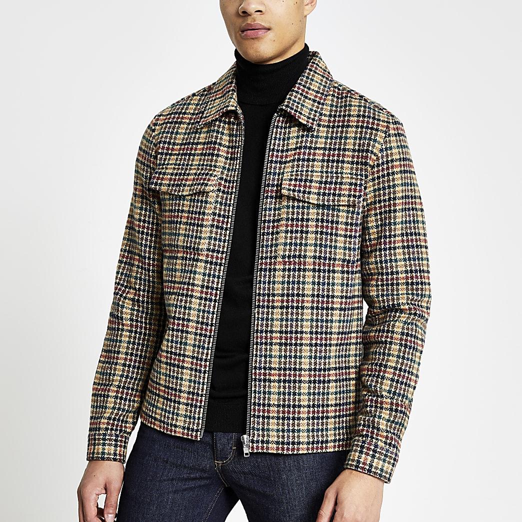 Steingraues Regular Fit Überhemd mit Hahnentritt-Muster