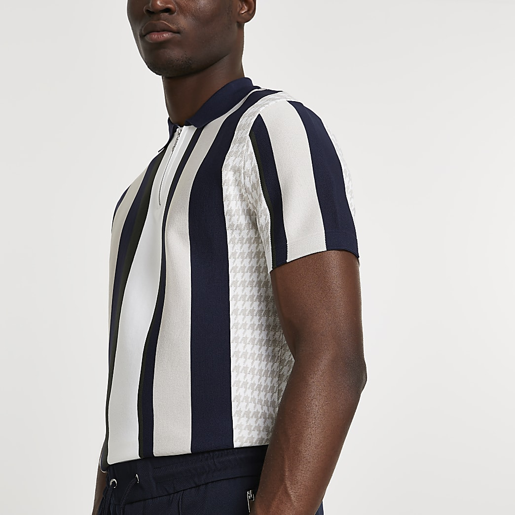 Stone dogtooth stripe slim fit polo shirt