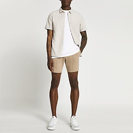 Stone drawstring skinny fit shorts