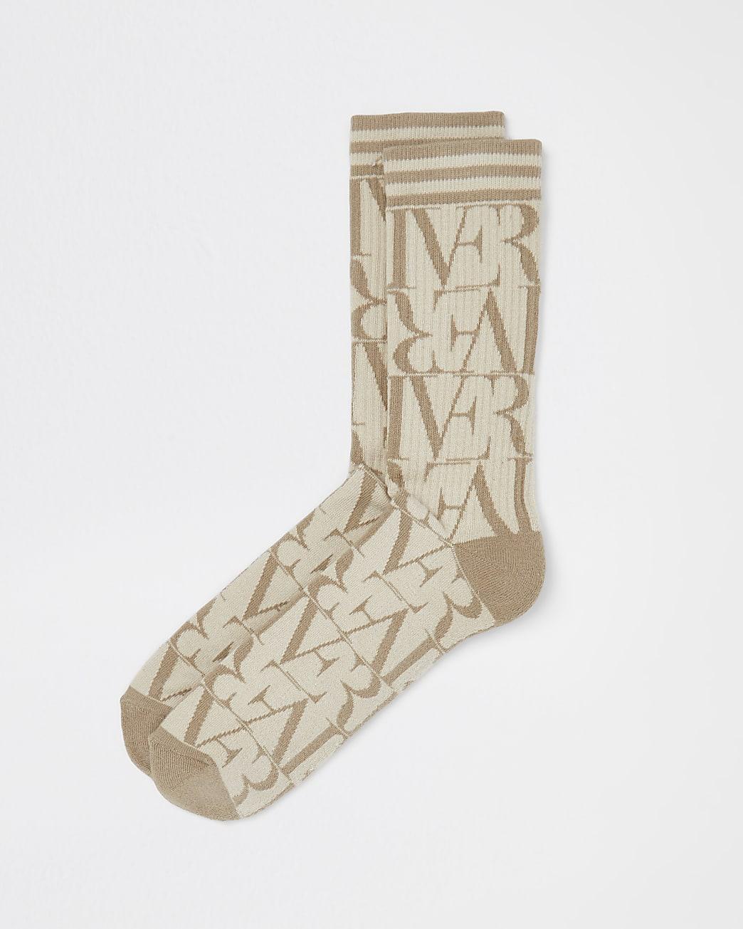 Stone drench monogram print socks