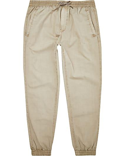 Stone elasticated waist tapered joggers