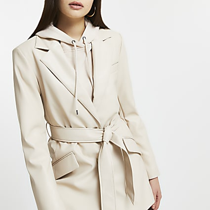 Stone faux leather belted dad blazer