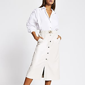 Stone faux leather belted waist midi skirt