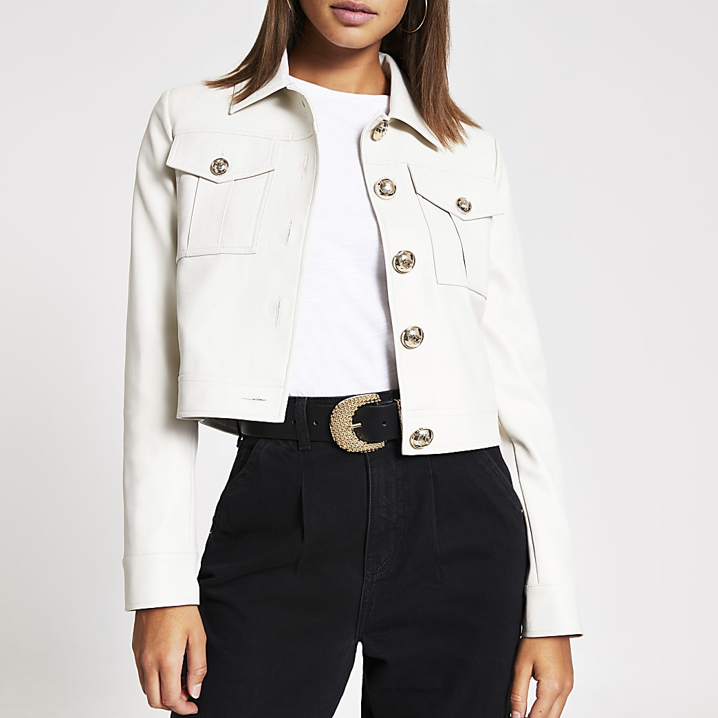 Stone faux leather cropped jacket