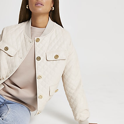Stone faux leather diamond quilted bomber