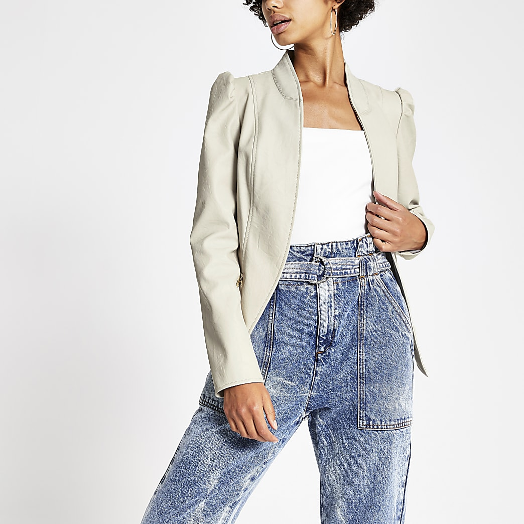 Stone faux leather long puff sleeve jacket