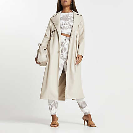 Stone faux leather trench coat