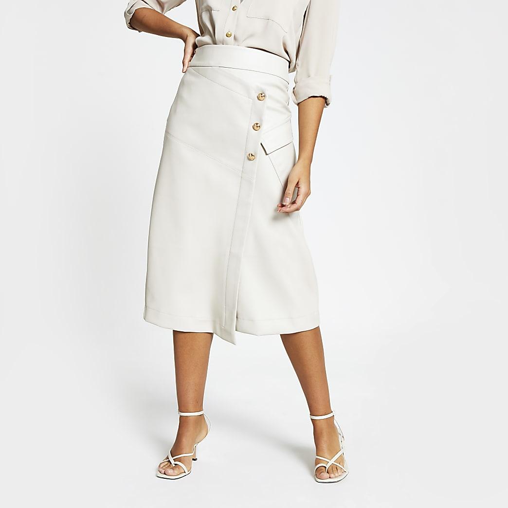 Stone faux leather wrap midi skirt