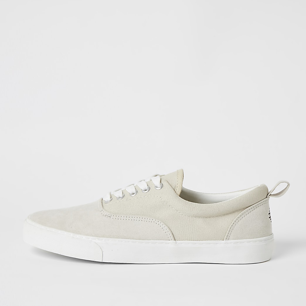 Stone faux suede lace-up trainers
