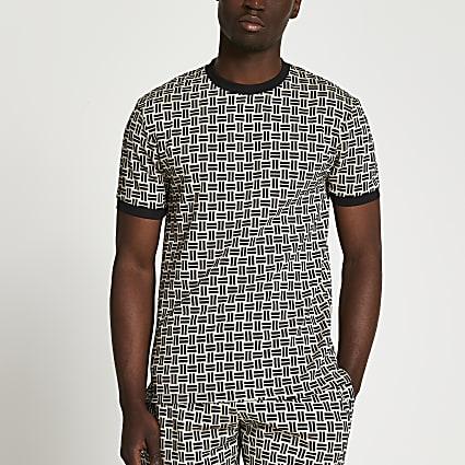 Stone geo matchstick print t-shirt