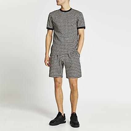 Stone geo print pull on shorts