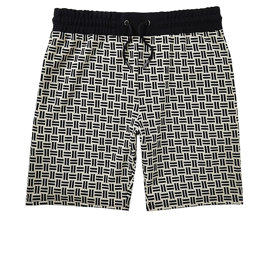 Stone geometric print slim fit shorts