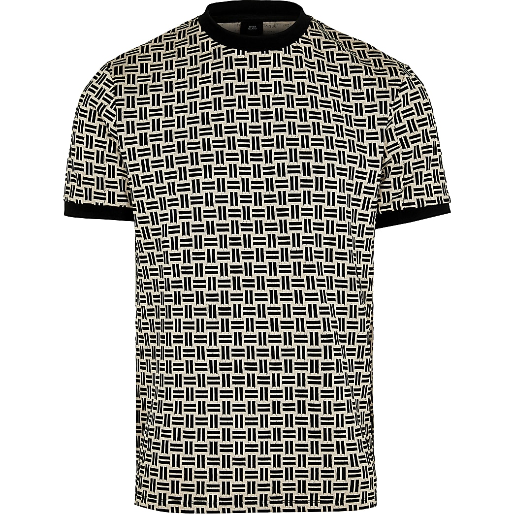 Stone geometric print slim fit t-shirt