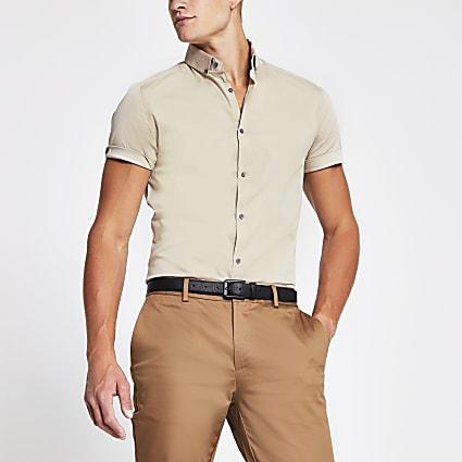 Stone grandad muscle fit short sleeve shirt