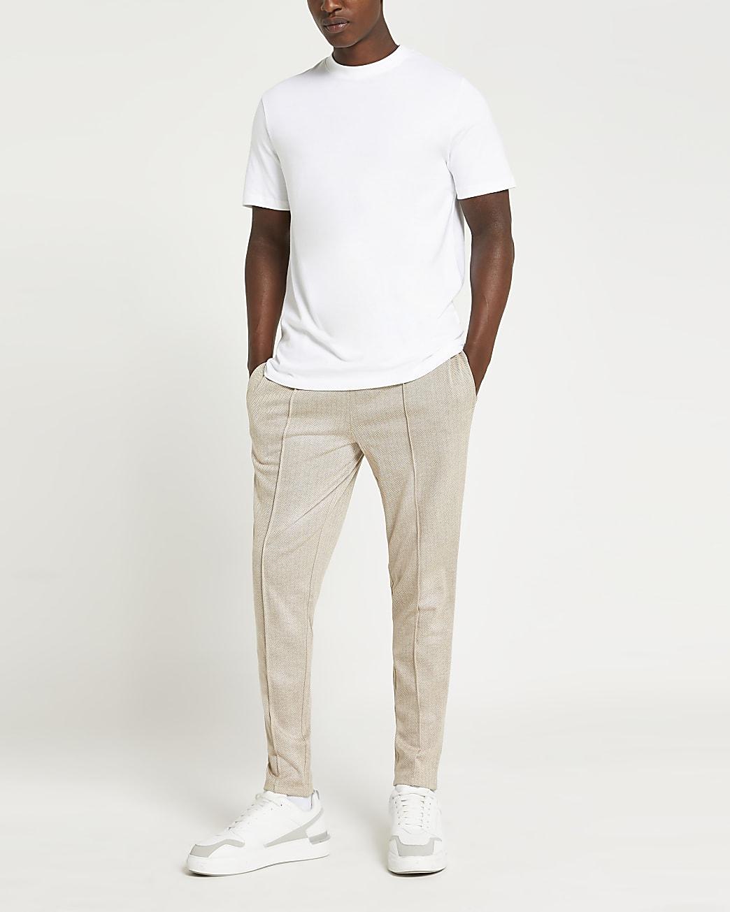 Stone herringbone joggers and t-shirt set