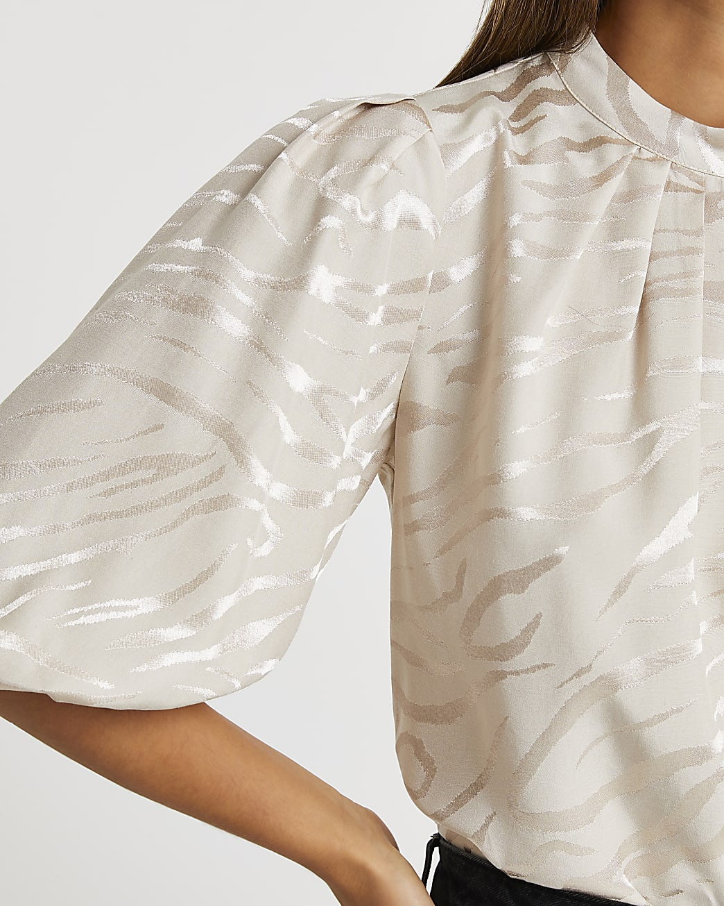 Stone high neck animal print blouse top