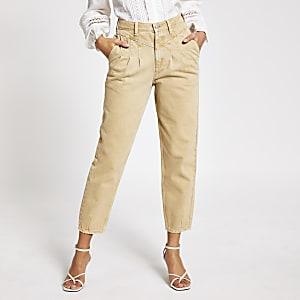 Kiezelkleurige tapstoelopende jeans met hoge taille