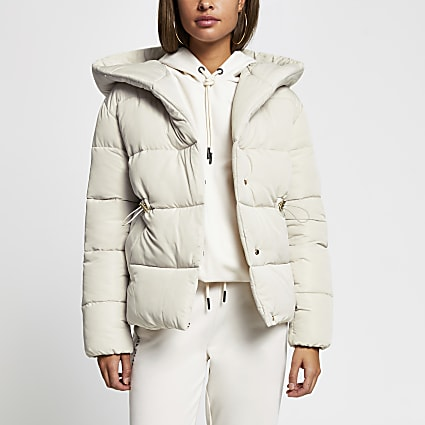 Stone hooded puffer coat