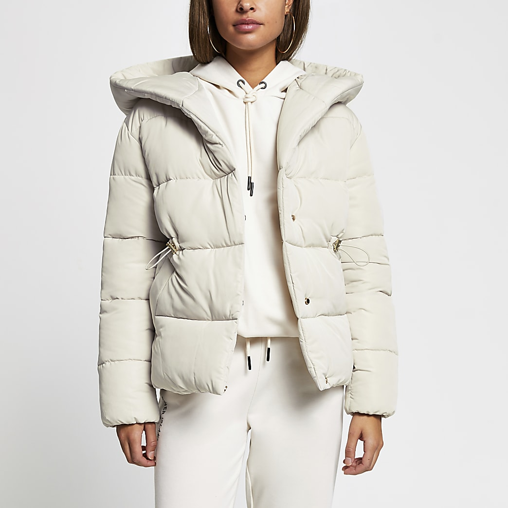 Stone hooded puffer coat