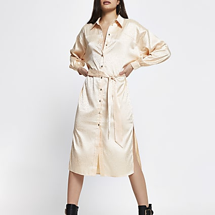 Stone jacquard tie belt shirt midi dress
