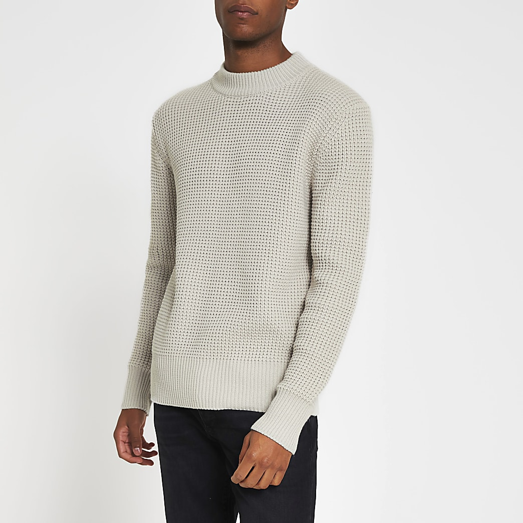 Stone knitted waffle slim fit jumper