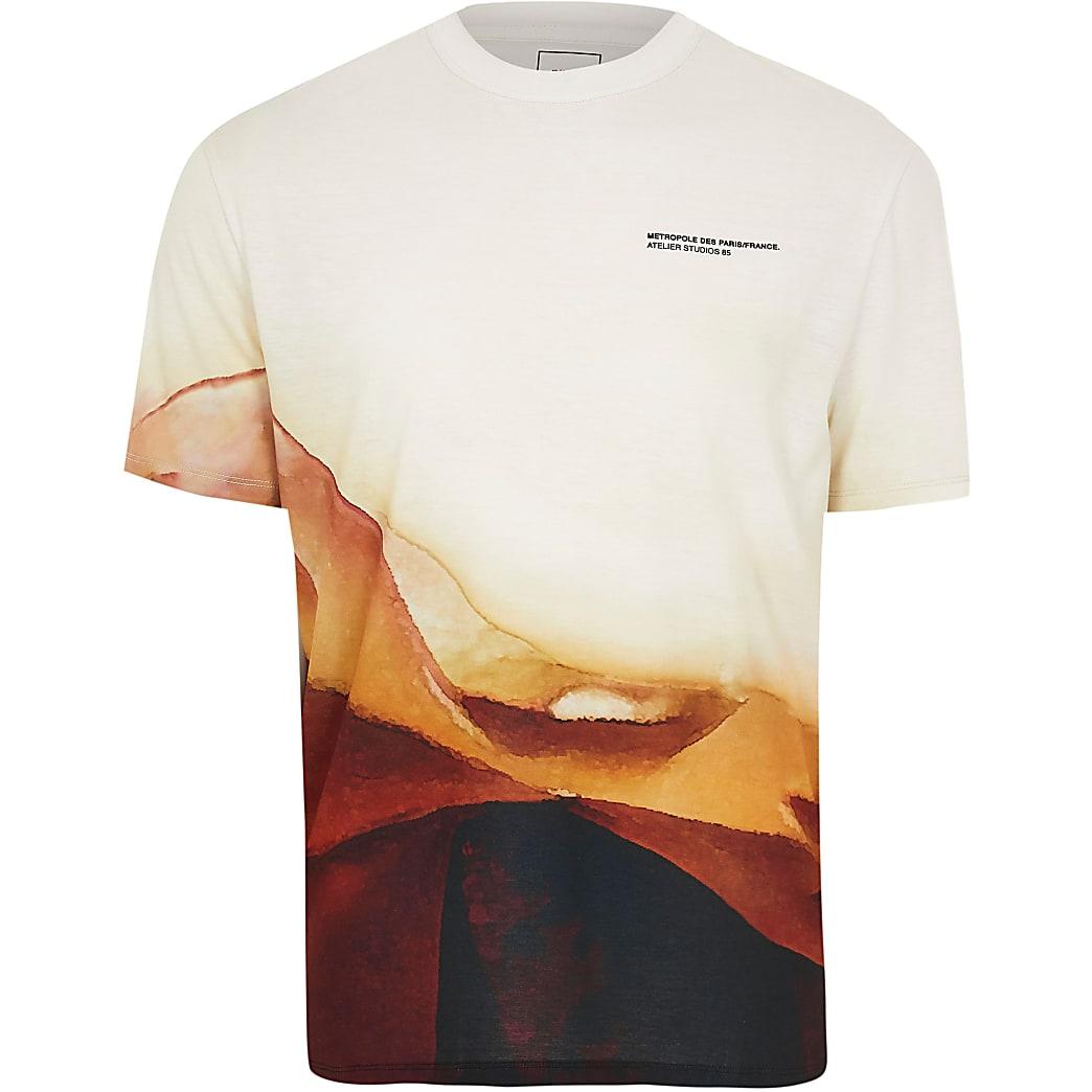Stone landscape print short sleeve t-shirt