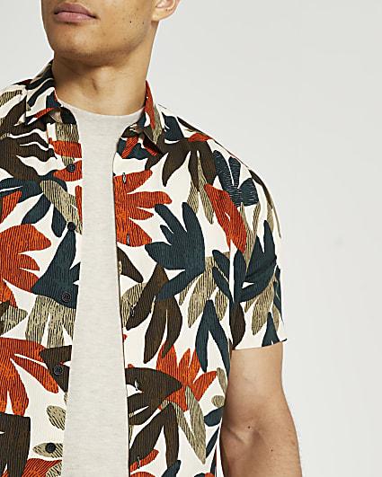 Stone leaf print short sleeve shirt