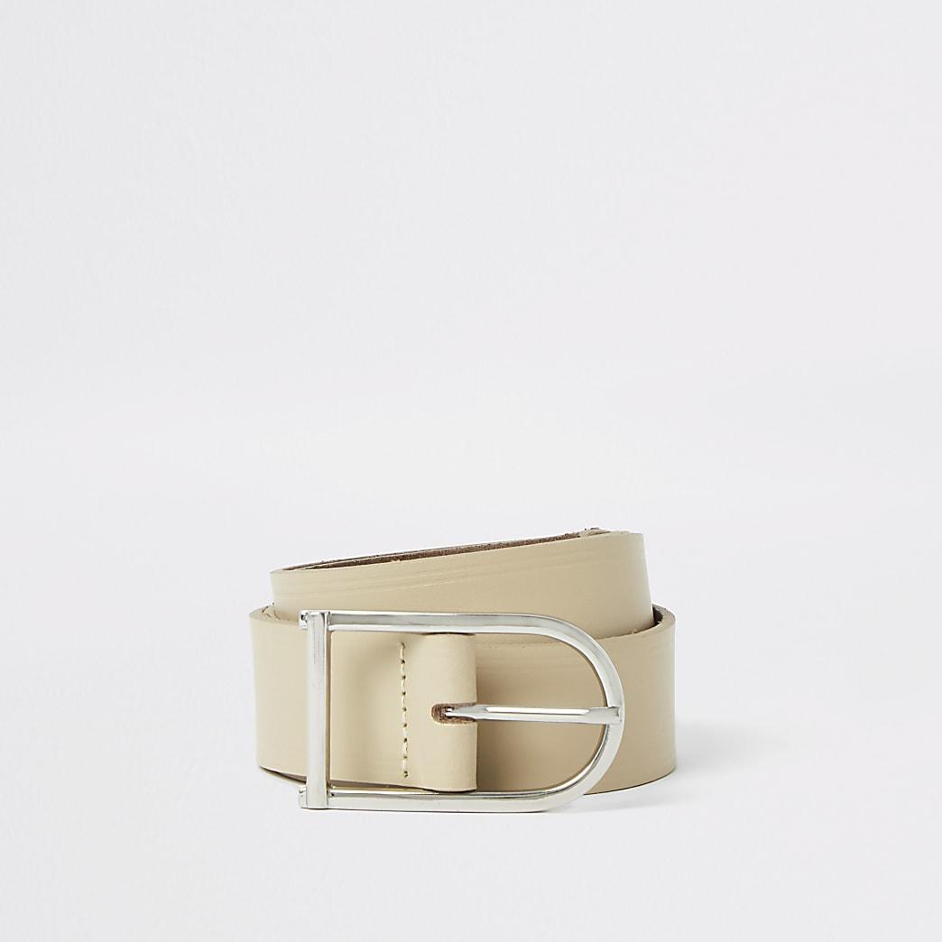 Stone leather horseshoe buckle belt