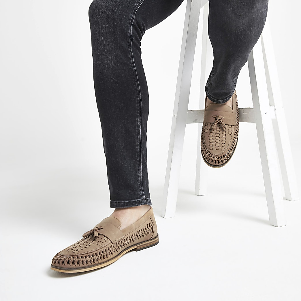 Stone leather woven tassel front loafers