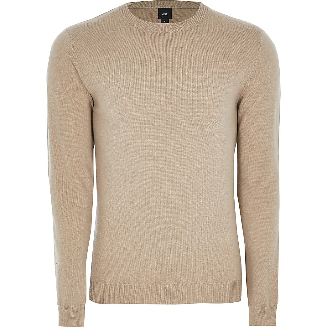 Stone long sleeve cashmere blend jumper