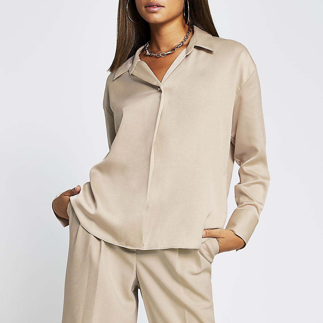 Stone long sleeve collar shirt
