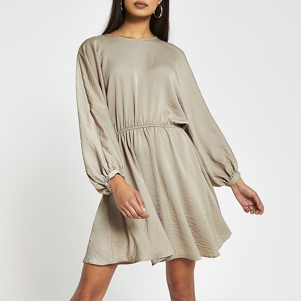 Stone long sleeve drawstring waist mini dress