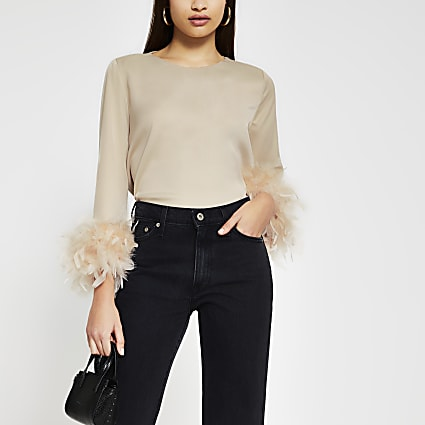 Stone long sleeve feather cuff top