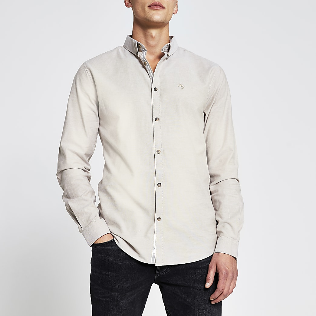 Stone long sleeve muscle fit oxford shirt