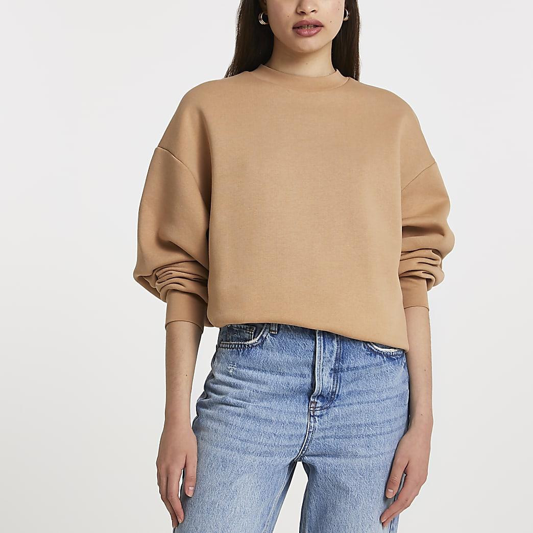 Stone long sleeve oversized sweatshirt