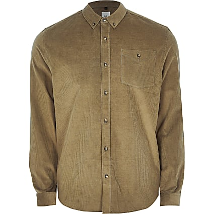 Stone long sleeve slim fit cord shirt